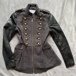 BCBG military jacket with faux leather sleeves